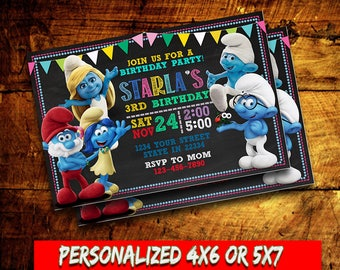 Smurfs,Smurfs Invitation,Smurfs Birthday party,Smurfs Printable,Smurfs Card,Birthday Invitation,Smurfs Birthday