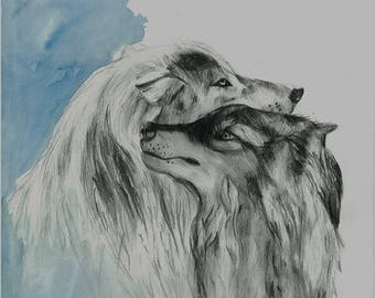Watercolour and Greylead Wolves Print