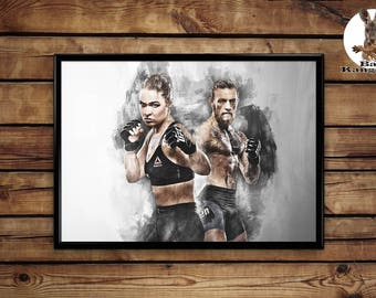 Ronda Rousey Conor McGregor print wall art home decor poster