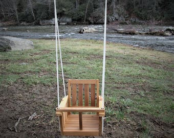 Childs natural cedar wood Swing (Non Toxic)Free shipping