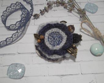Brooch, flower, gray, flower brooch, brooch boho, handmade brooch, textile brooch, brooch for scarf, brooch made of yarn, original brooch