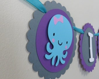Under the Sea High Chair Banner - I Am One - First Birthday Decorations - 1st Birthday - Octopus Purple Blue Grey