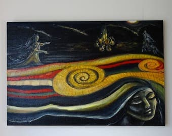 Woman Who Run With The Wolves Oil Painting,Woman And Wolfs,Shamanic Picture,Shamanic picture, Ethno painting,Symbolic Picture,Pagans Magic