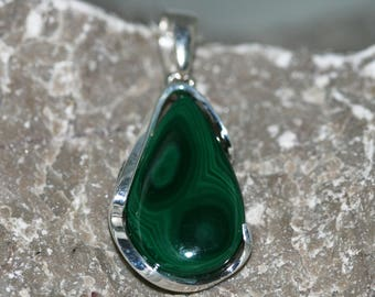 Malachite Pendant. Eye-catching, dark green, teardrop shaped stone in classic, sterling silver setting. Handmade & unique.