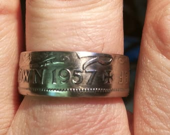 Half Crown British coins into rings