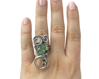 Handmade Silver Ring with Rhyolite, Citrine and Peridot
