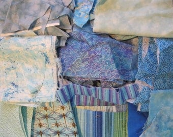 Stash-Buster Blue Cotton Quilting Fabric Scraps #2