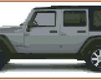 Cross stitch chart Jeep Wrangler AT-002  !!!ONLY CHART!!!