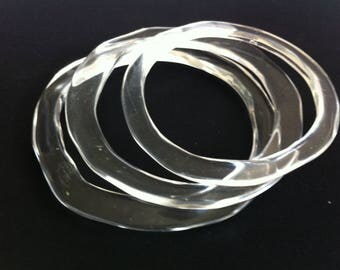 Set of 3 clear Resin Bangles