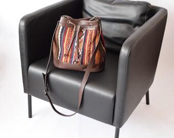 Kilim Bag-045 Multi-use Bucket Bag Back Bag and Cross Body Bag