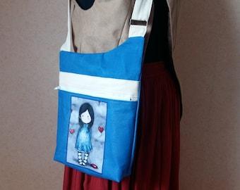 """Adjustable """"scoundrel"""" blue beige heart shoulder bag"""