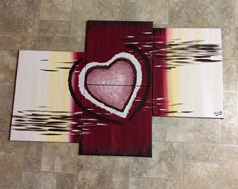 4 piece Burgundy and yellow heart