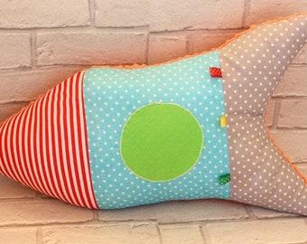 Rocket pillow/rocket cushion/soft toy/nursery room decoration/handmade/58cm