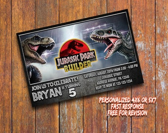 Jurassic World Invitation,Jurassic World Birthday Invitation,Jurassic World Printable,Personalized Birthday Invitation