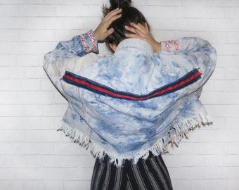Bleached Dyed Red White and Blue Denim Jacket
