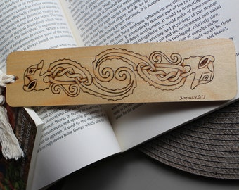 Seahorse Celtic bookmark/burned bookmark/wooden burned bookmark/handmade bookmark/Celtic bookmark with tassel