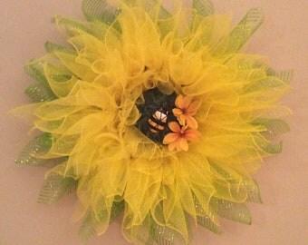 Bee on Yellow Flower Wreath