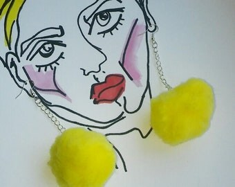 Silver Plated Yellow Pom Pom Earrings