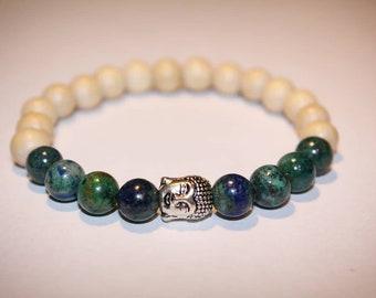 Azurite & Wood bracelet
