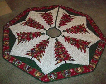 Christmas Tree Skirt #83, Quilted, Reversible