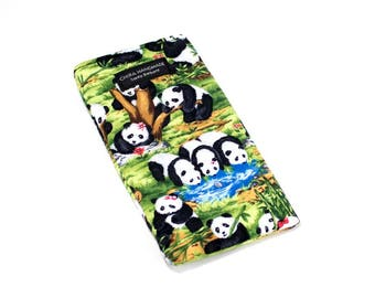 Panda Play fabric Eyeglass Reader Case. Multi-functions as a checkbook case or cell phone pouch.