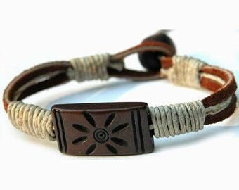 Leather, Hemp and Brown Sun Bone Bead Bracelet or Anklet