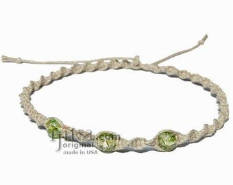 Natural Twisted Hemp  Green cracked Resin Beads Surfer Style Choker Necklace