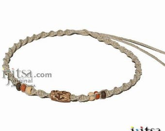 Natural Twisted Hemp, Ceramic Swirly Arrow Beads Surfer Style Choker Necklace