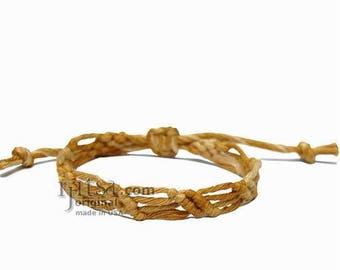Leaves Golden Brown Hemp Adjustable Bracelet or Anklet