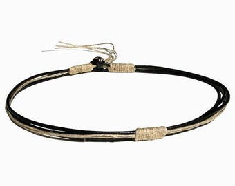 Round Black leather & natural hemp surfer style necklace