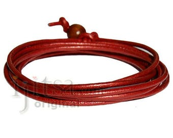 2mm Moroccan red leather adjustable surf wrap bracelet
