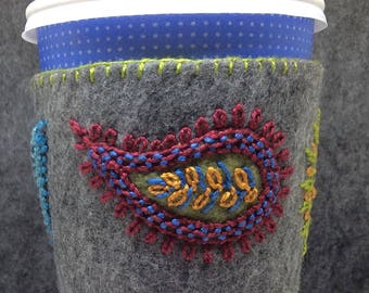FREE SHIP Custom made Hand Embroidered Ethnic Paisley Coffee Cup Cozy Sleeve sheath in Grey and Jewel Tones