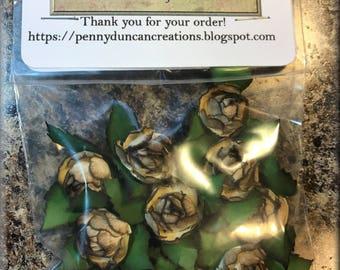 """Handmade Paper Rosebuds Off White 1"""""""