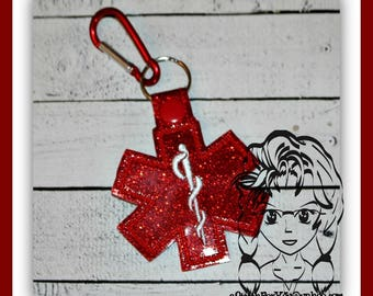 MeDICAL BLANK Alert Allergy Key FOB Key Ring Snap Tab ~ In the Hoop ~ Downloadable DiGiTaL Machine Embroidery Design by Carrie
