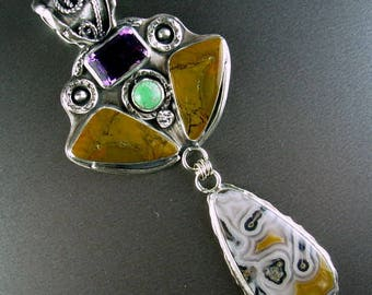 Chelle' Rawlsky STONE SOUP COLLECTION very regal large sterling silver pendant faceted amethyst jasper turquoise, agua nueva agate wide bale