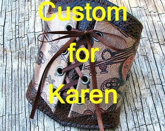 Women's Brown Leather Corset Wrist Wallet Cuff For Cards with Secret Pocket - Locks and Keys - MADE to ORDER