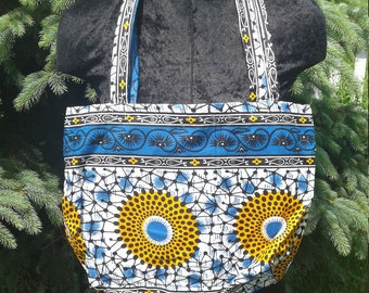 One of A Kind Blue and Yellow Mandala Print Hippie Gypsy Shopping Market Tote Purse Bag
