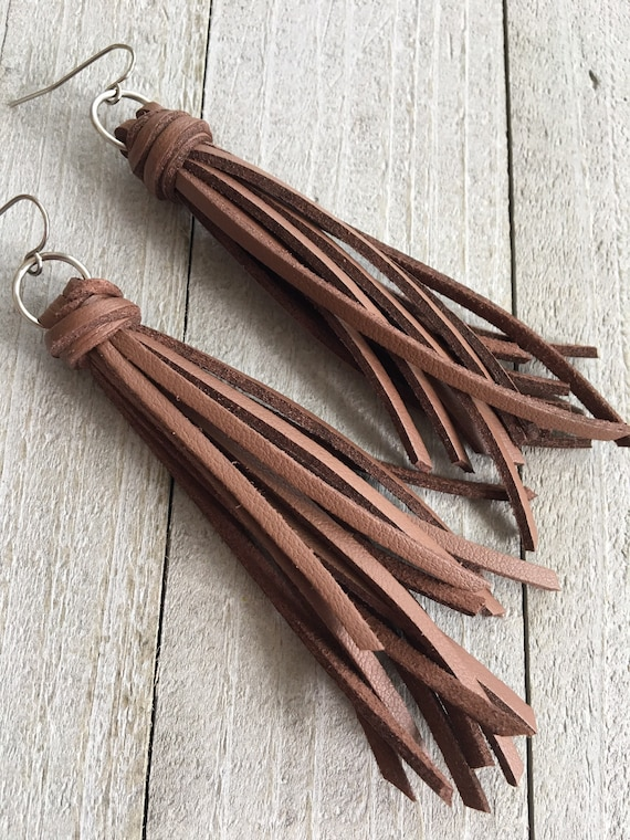Warm Brown Leather Fringe Tassel Earrings - Long Tassel Earrings - Boho Chic, Bohemian Earrings, Gift for Her, Gift Under 25