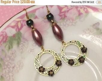 SALE Assemblage Earrings, Green Pearl Earrings, Black Flower Earring, Metal Charm Earring, Bohemian Earring, Long Dangle Earrings