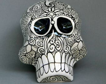 Large Handmade Hand Sculpted Ceramic Clay Day of the Dead Decor / Halloween Sugar Skull Sun / Moon Pattern