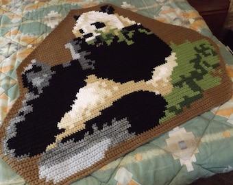 New GIANT PANDA RUG, Hand Crocheted, 100% Acrylic