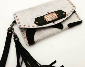 SALE Black & White Zebra Printed Hair-on Cowhide with Copper Accents