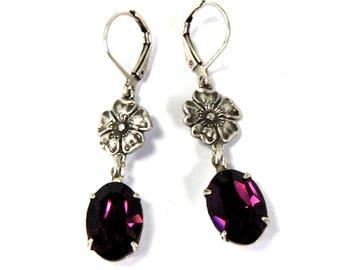 Art Deco Style Earrings in Antiqued Silver with Dark Violet Purple Swarovski Crystal Stones Poppy Flower Details