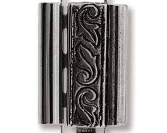 Elegant Elements Beadslide Clasp, Swirl Design, 10mm x 18mm - Antique Silver