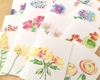 8 Watercolor Floral Note Cards - Blank Folded Botanical Note Cards - Floral Watercolor Variety Card Set - You Choose 8 Designs