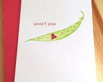 Sweet Pea Love Greeting Card - Love Anniversary Card - Baby Sweet Pea Card - Pea and Heart Card - Hand Printed Greeting Card