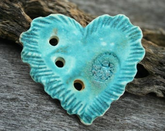 Handmade Ceramic HEART Button