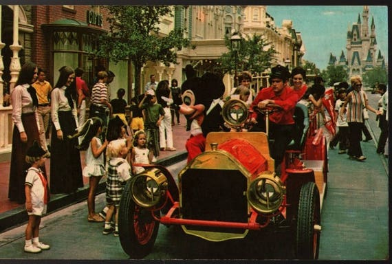 Main Street USA + Walt Disney World  + Florida + Vintage Souvenir Postcard