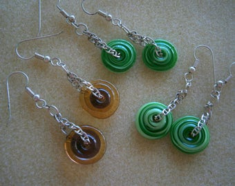 Choice of Glass Disc Earrings in Honey Brown or Lime Lifesaver, Glass Jewelry,  Glass Earrings Sterling Silver, Willow Glass