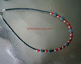 Beaded Ankle Bracelet Hematite, Red Siam and Black Seed Beads, 9 inches, Willow Glass, OOAK